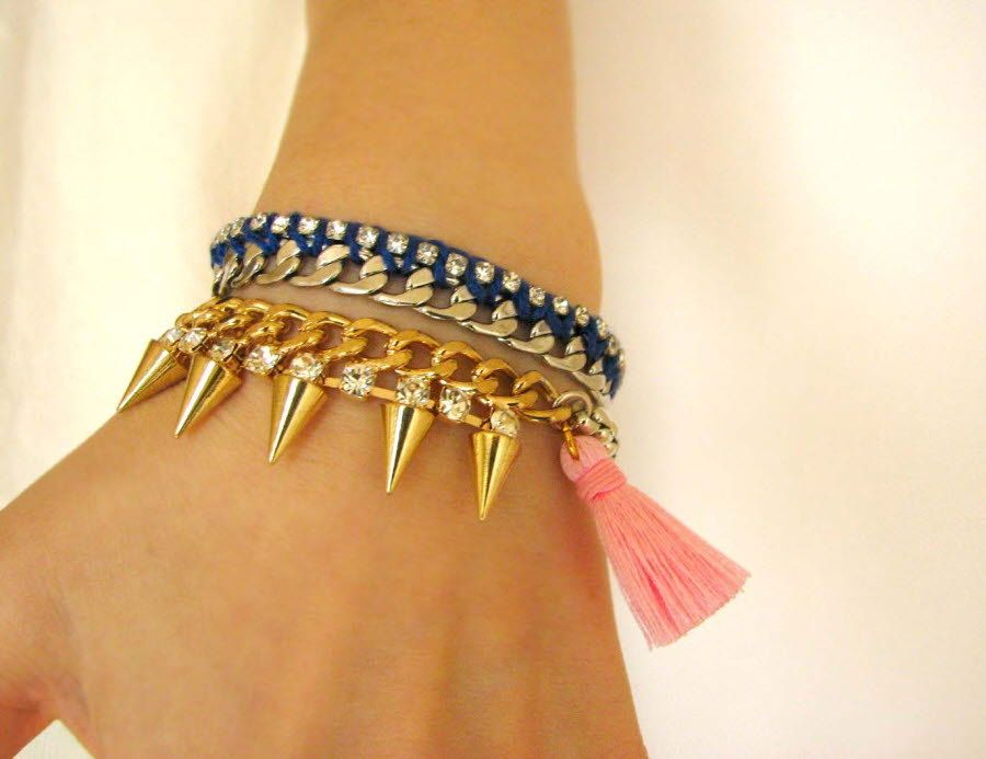Spike tassel bracelet-Turquoise,Pink. $29.00, via Etsy.