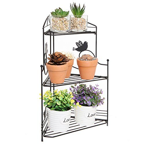 Freestanding Black Metal Scrollwork Bird Design 3 Tier Plant Display Stand Decorative Corner Shelf Mygift Http Www Amazon Com Dp B014ibt520 Ref Cm S Plants