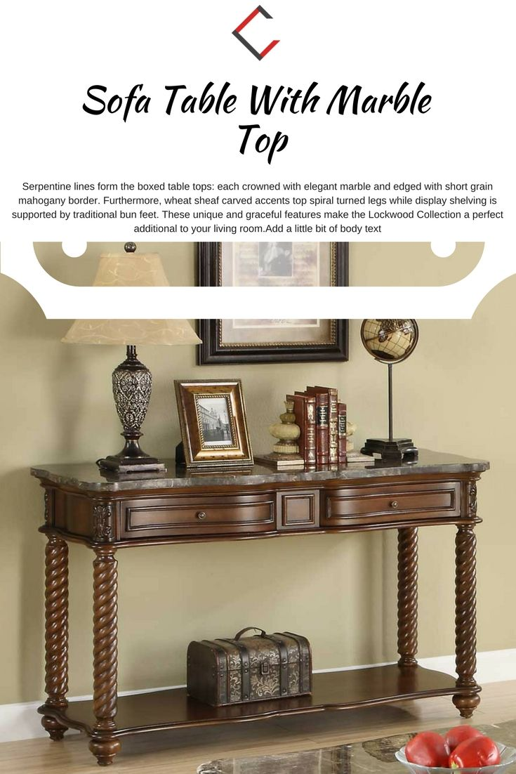 Home elegance lockwood sofa table with marble top the classy home