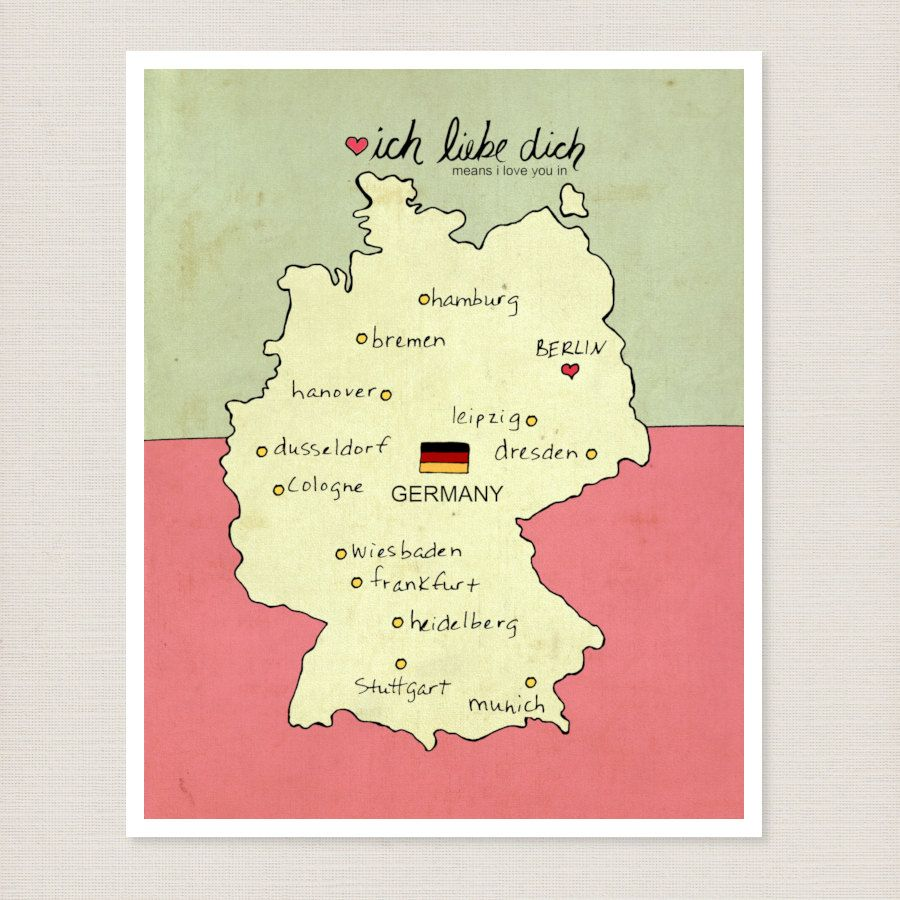 I Love You in Germany // Typographic Digital Art Poster Print, Map ...