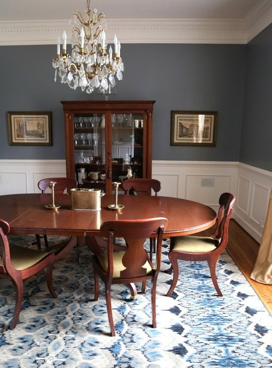 blue designer dining room--Templeton Gray by Benjamin Moore. : best-room-colors - designwebi.com