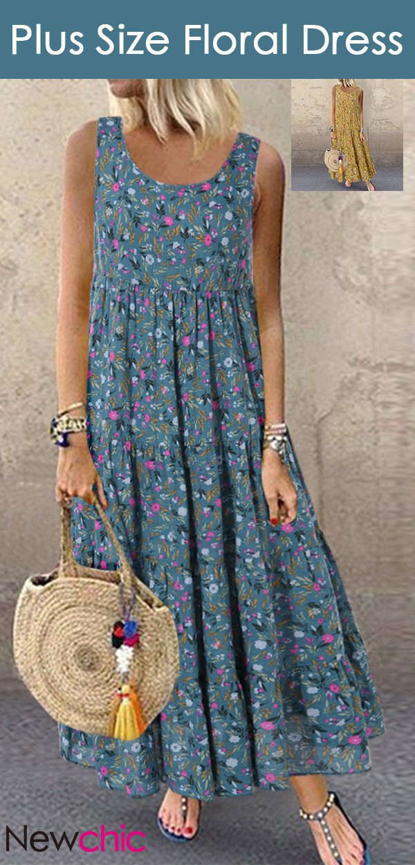 Photo of Hot Sale | Bohemian Floral Print Sleeveless Plus Size Maxi Dress