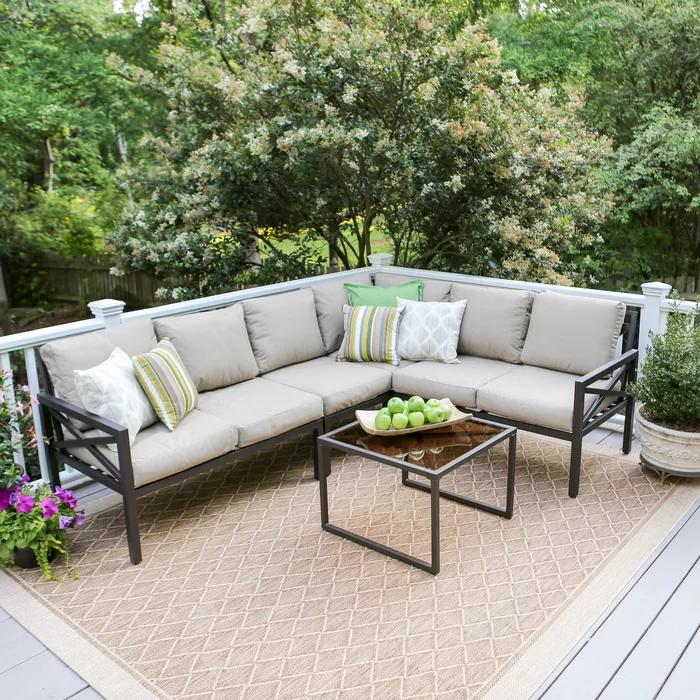 Greyleigh Lavada 5 Piece Sunbrella Sectional Seating Group With Cushions Reviews Wayfair Patio Furniture Sets Conversation Set Patio Outdoor Furniture