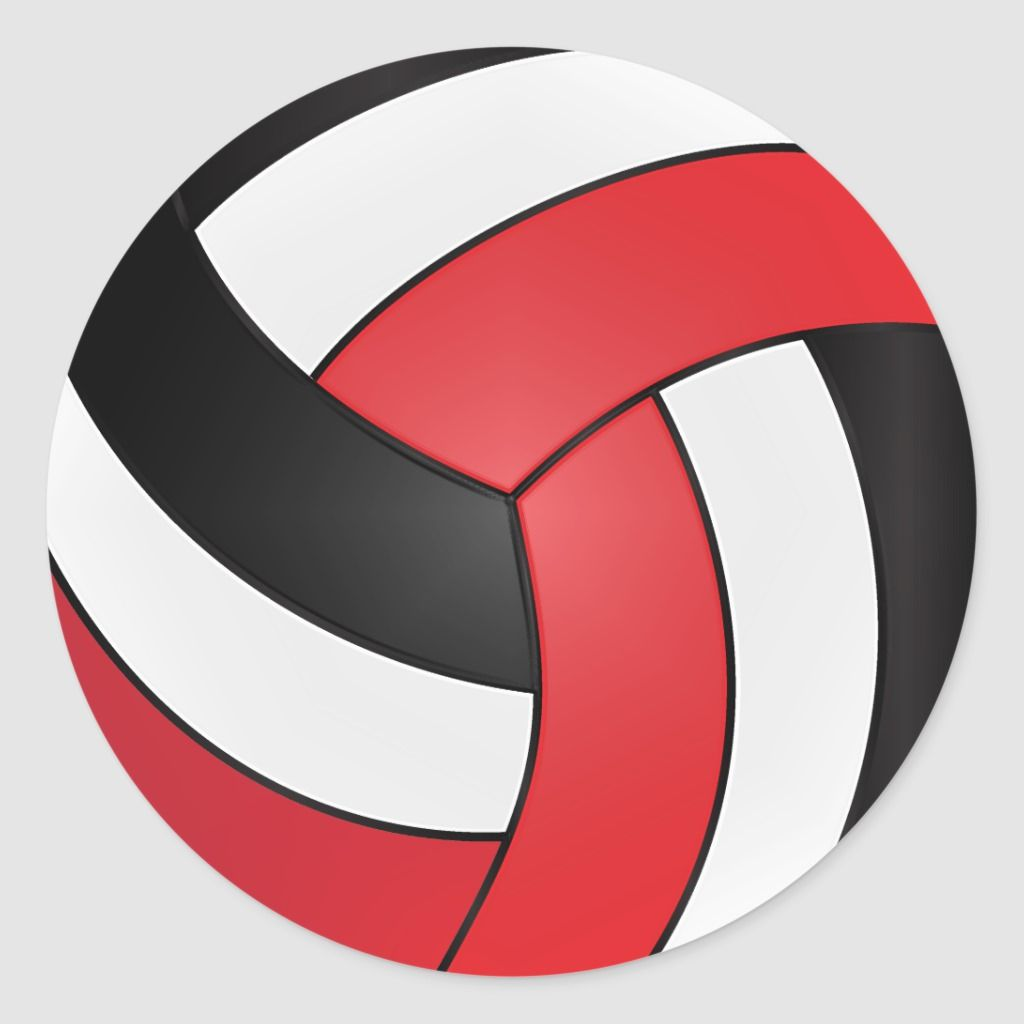 Red White And Black Volleyball Classic Round Sticker Zazzle Com In 2020 Volleyball Round Stickers Volleyball Gifts