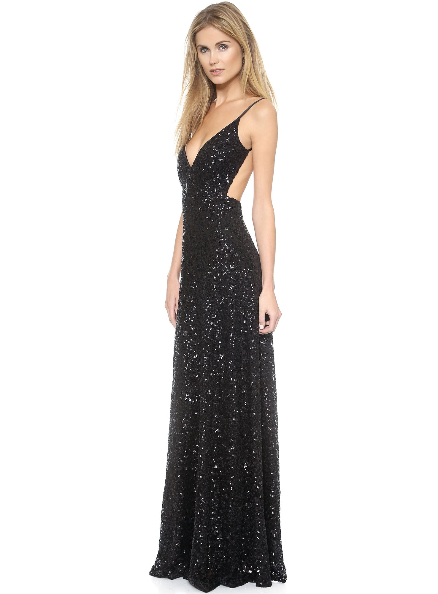 Shop black spaghetti strap sequined backless maxi dress online