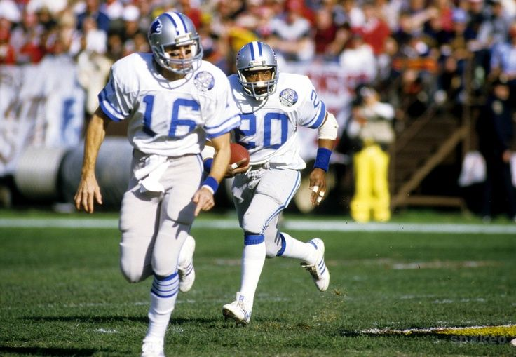 Detroit Lions quarterback Gary Danielson (16) leads a block for running back Billy Sims (20) against the San Francisco 49ers during the 1983 NFC Divisional Game at Candlestick Park.