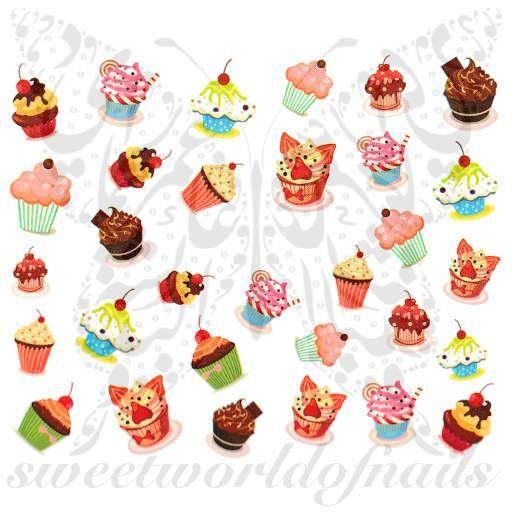 cupcake nail art water decals