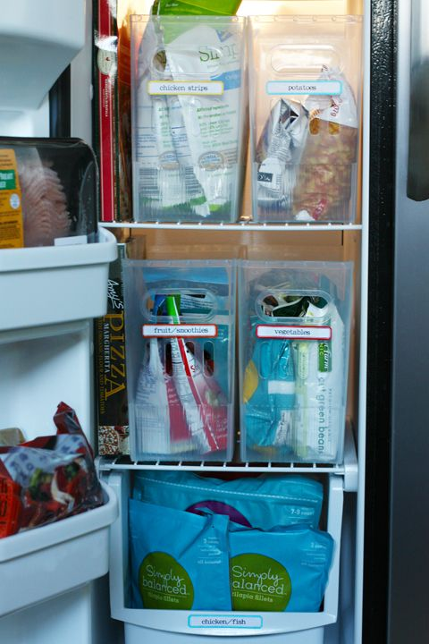 Organized freezer  from iheartorganizing (link is to containerstore bins)