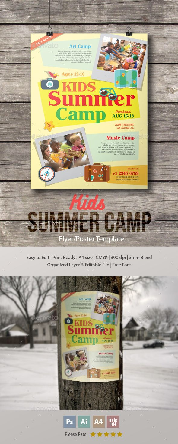 Summer Camp Flyer  Holidays Events Flyer Template
