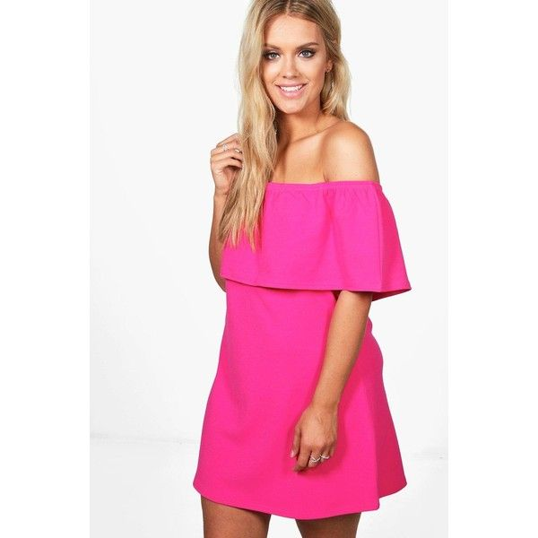 Boohoo Plus Abbi Off The Shoulder Ruffle Swing Dress ($15) ❤ liked ...