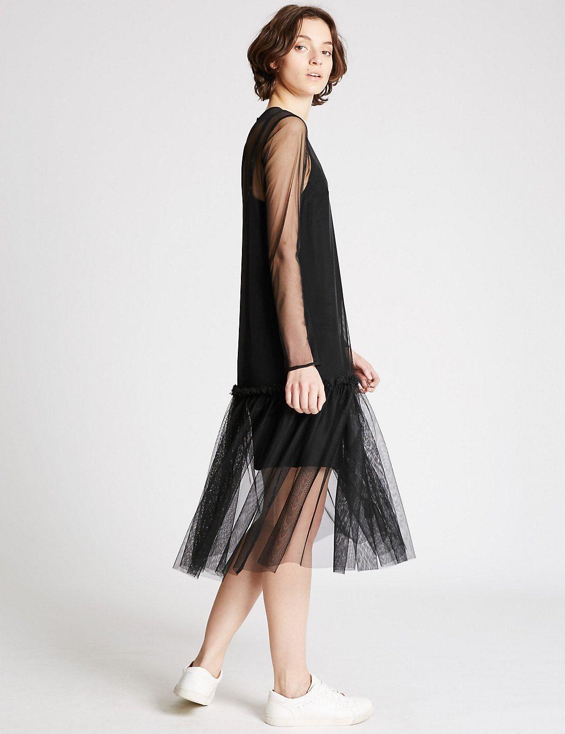 $76 Tulle Long Sleeve Shift Dress | Marks & Spencer London