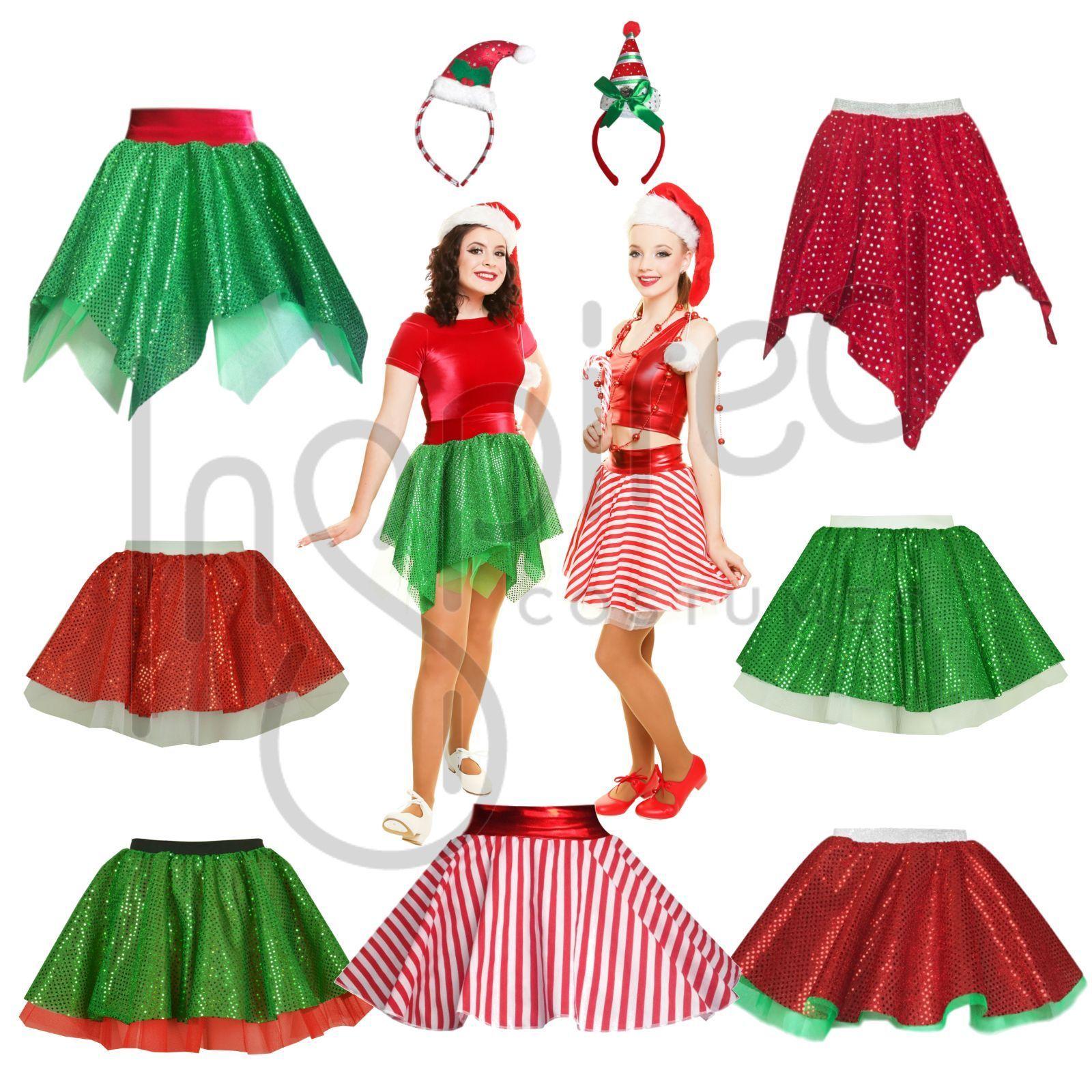Ladies Women's Red Green Elf Tutu Skirt Xmas Santa Helper Christmas Fancy Dress