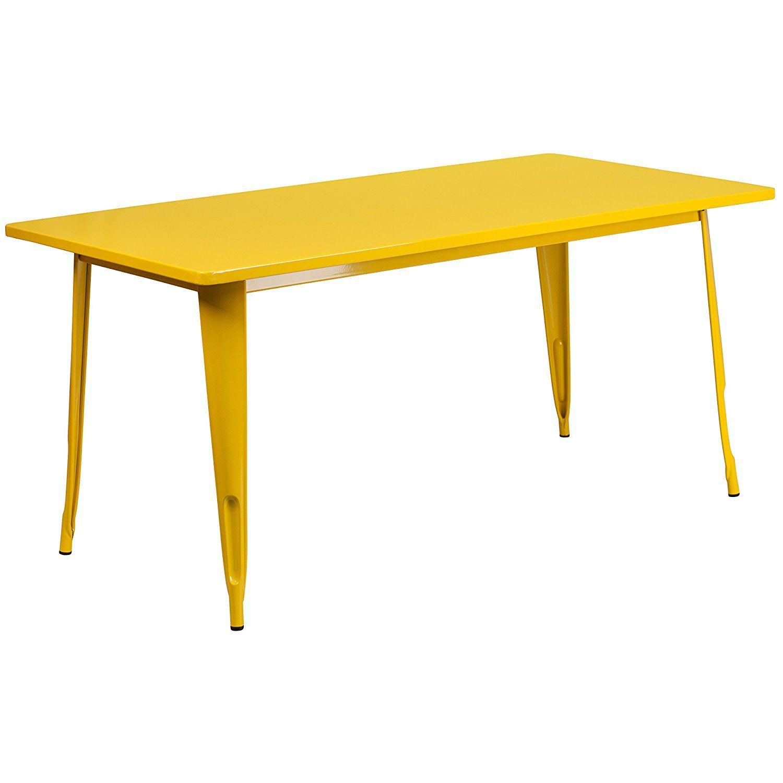 Amazon flash furniture etctylgg rectangular yellow metal