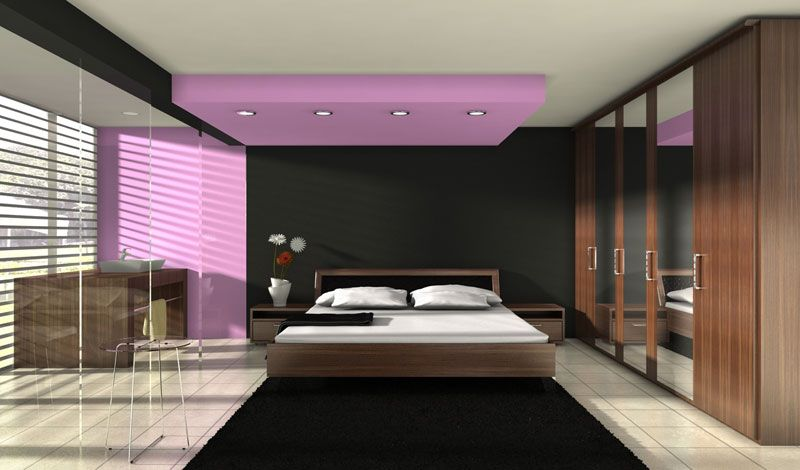 Stunning Fabulous And Impressive Bedroom Interior Design With Fascinating Purple Black Accent