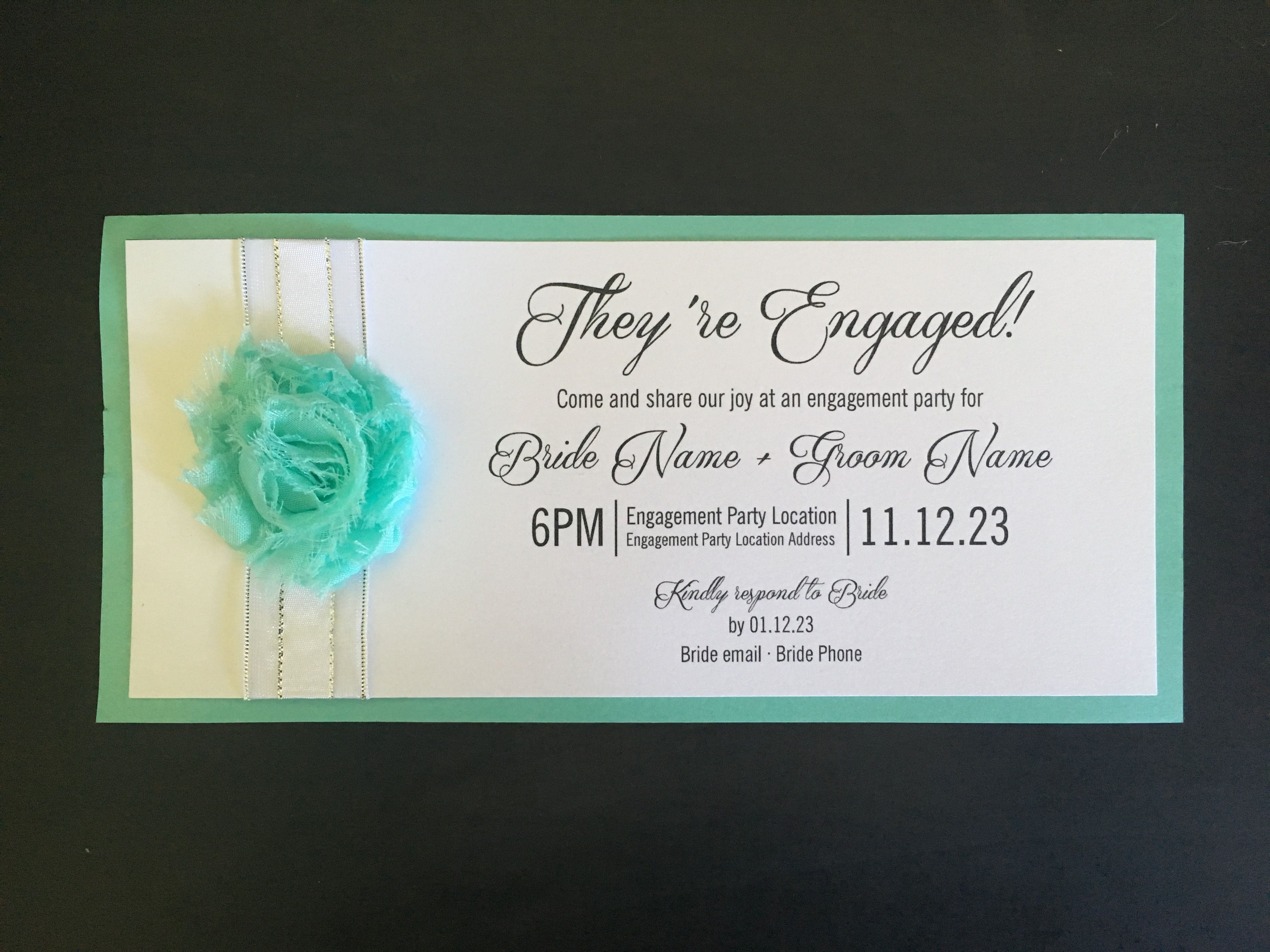 Aqua mint handmade engagement invitation. White shimmer card on ...