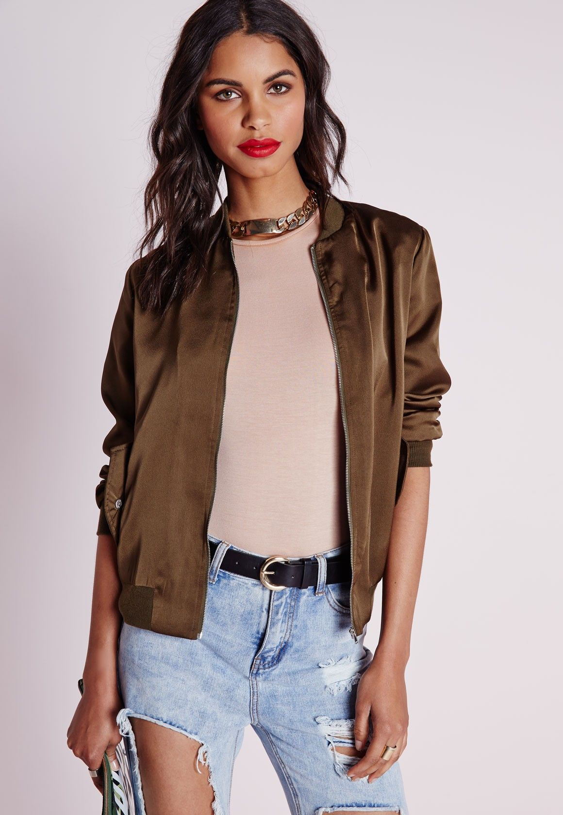 Missguided - Satin Bomber Jacket Khaki