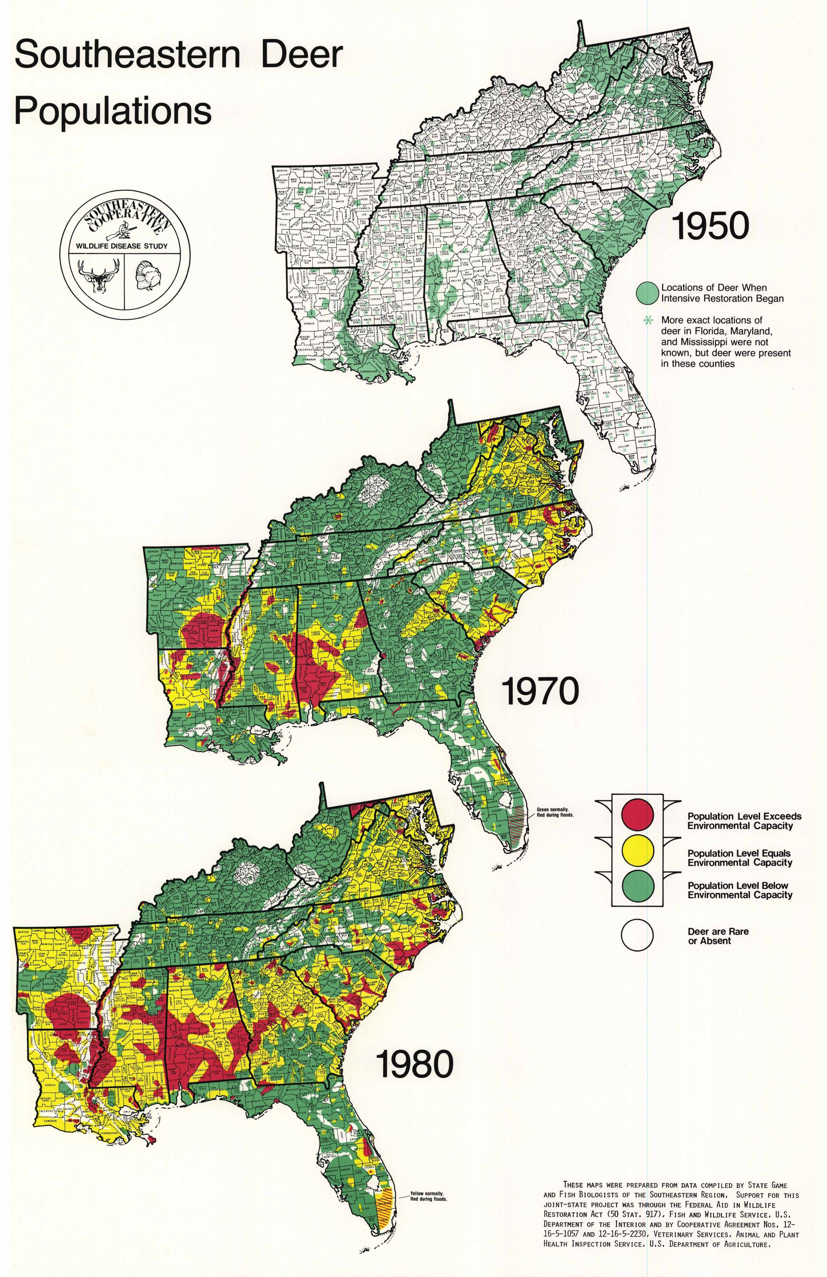 Whitetail Deer Populations In The Southeastern U S 1950 1970 1980 3150x4865 Deerinfographicsmaps