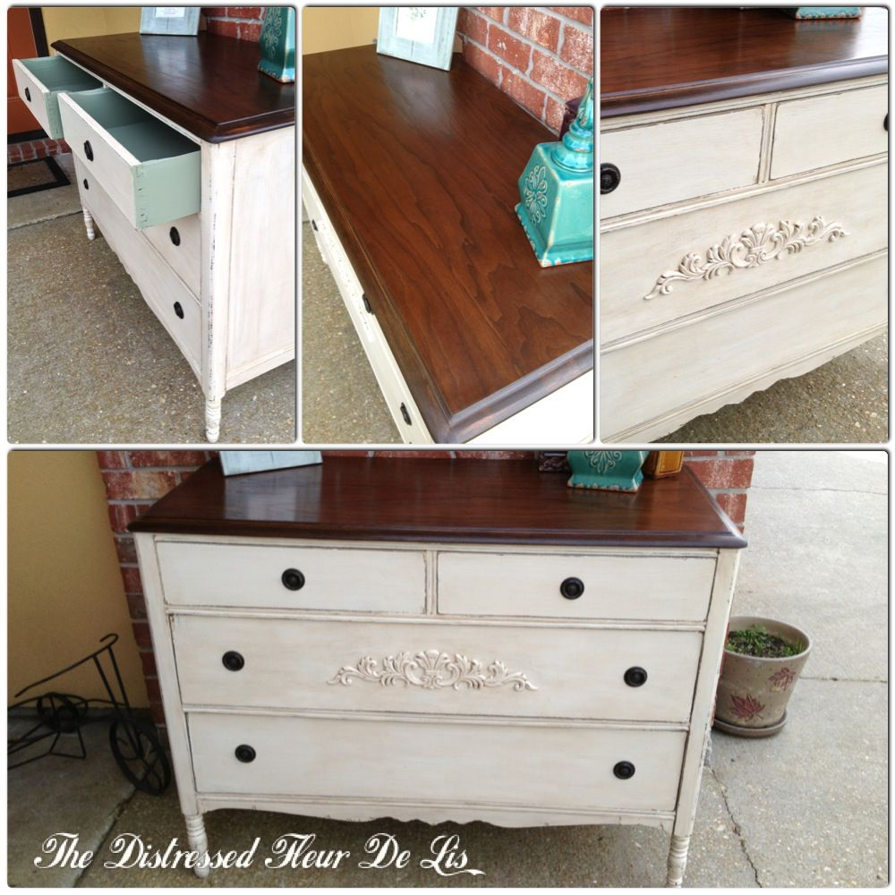 Antique Dresser Painted With General Finishes Antique White Milk
