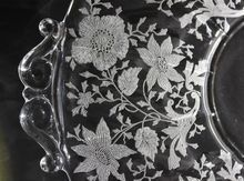 Vintage Depression Glass Cambridge Etched Wildflower Pattern Handled