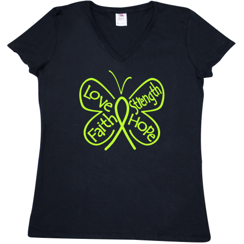 4bf5cef5 Non-Hodgkins Lymphoma Butterfly Inspiring Words Women's V-Neck T-Shirt -  Black | Lymphoma Ribbon Shirts, Apparel and Gifts