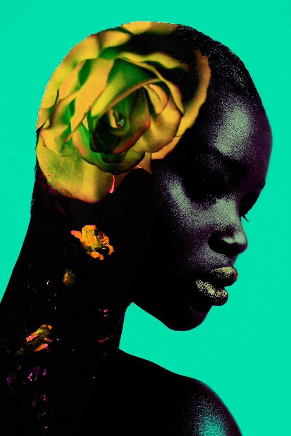 Madame Germany with model Ataui Deng Colored Rose Beauty Editorial | NEW YORK FASHION BEAUTY PHOTOGRAPHER- EDITORIAL COMMERCIAL ADVERTISING PHOTOGRAPHY