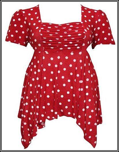 Red and Black Polka Dot Pixie-Hem Top