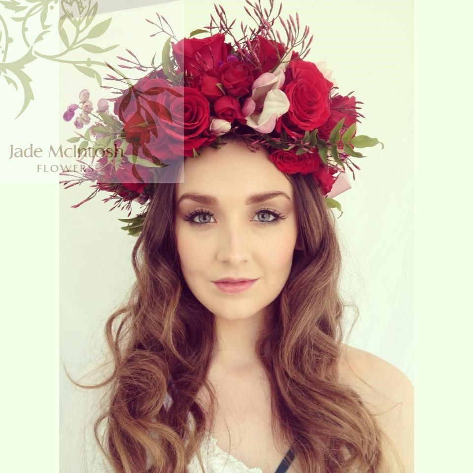 Romantically Red Flower Crown Of Roses Magnolia Flowers Jasmine