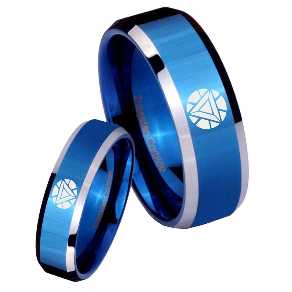 His Hers Iron Man Art Reactor Beveled Blue 2 Tone Tungsten Mens Wedding Ring Set Mens Wedding Rings Tungsten Mens Wedding Bands Tungsten Tungsten Mens Rings