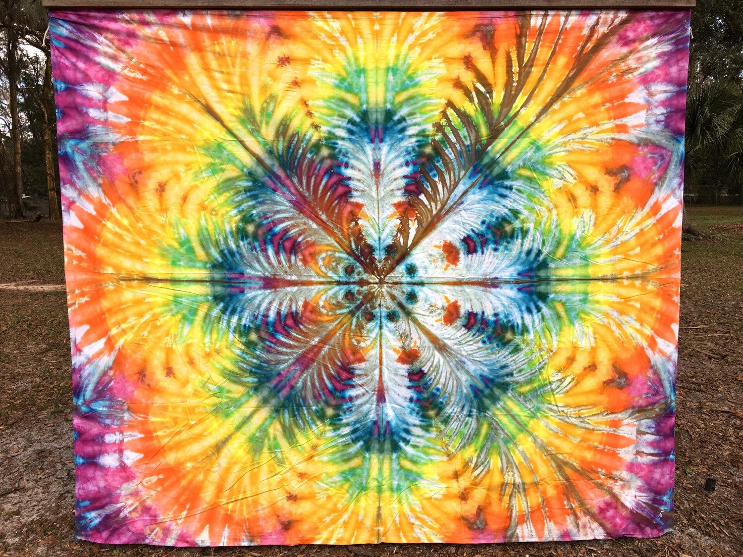 "Tie Dyed Tapestry Handmade Hippie Flower Blossom 85""x100"" Backdrop by AllBottledUpTieDyes on Etsy https://www.etsy.com/listing/259786237/tie-dyed-tapestry-handmade-hippie-flower"