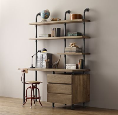 Rh Baby Child S Pipe Single Desk Shelving With Drawers Sy Steel Pipeatching