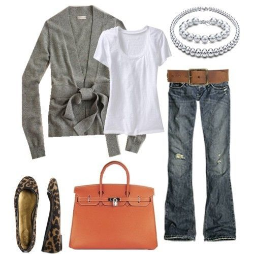 white tee & grey cardigan love...pop with the bag, but I'd lose the shoes, don't do animal print, ever