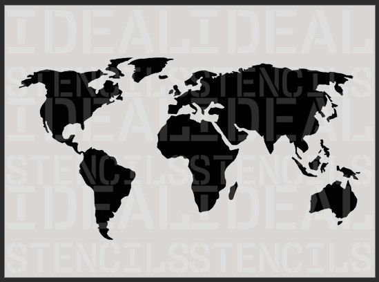 World map stencil decorative wall stencil furniture stencil world map stencil decorative wall stencil by idealstencils gumiabroncs Images