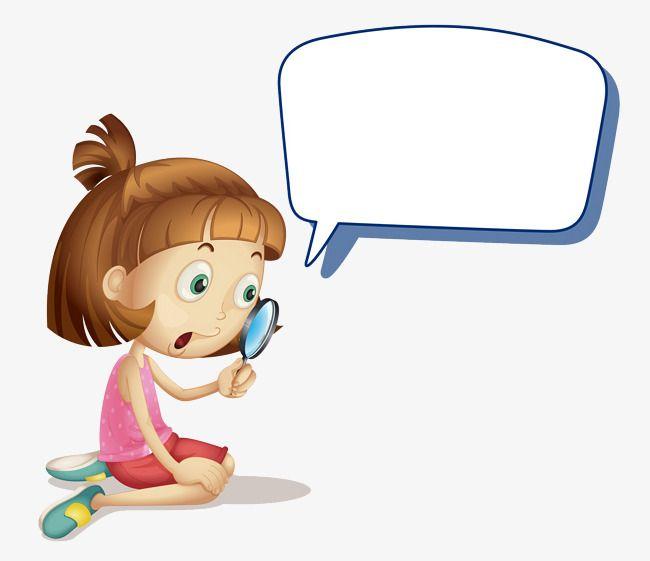 الفتاة ذات العدسة المكبرة فقاعات الدردشة إطار نص مربع الكتابة Png والمتجهات للتحميل مجانا Cute Cartoon Magnifying Glass Character
