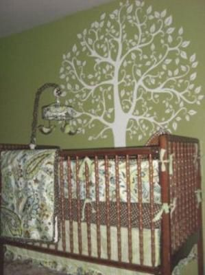Nature Nursery Theme Our Baby S Green Tree With Paisley Crib Bedding
