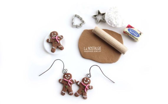 Gingerbread Man Earrings Christmas Charms Holiday Earring Cookie Jewelry Gifts For Women Clay Food