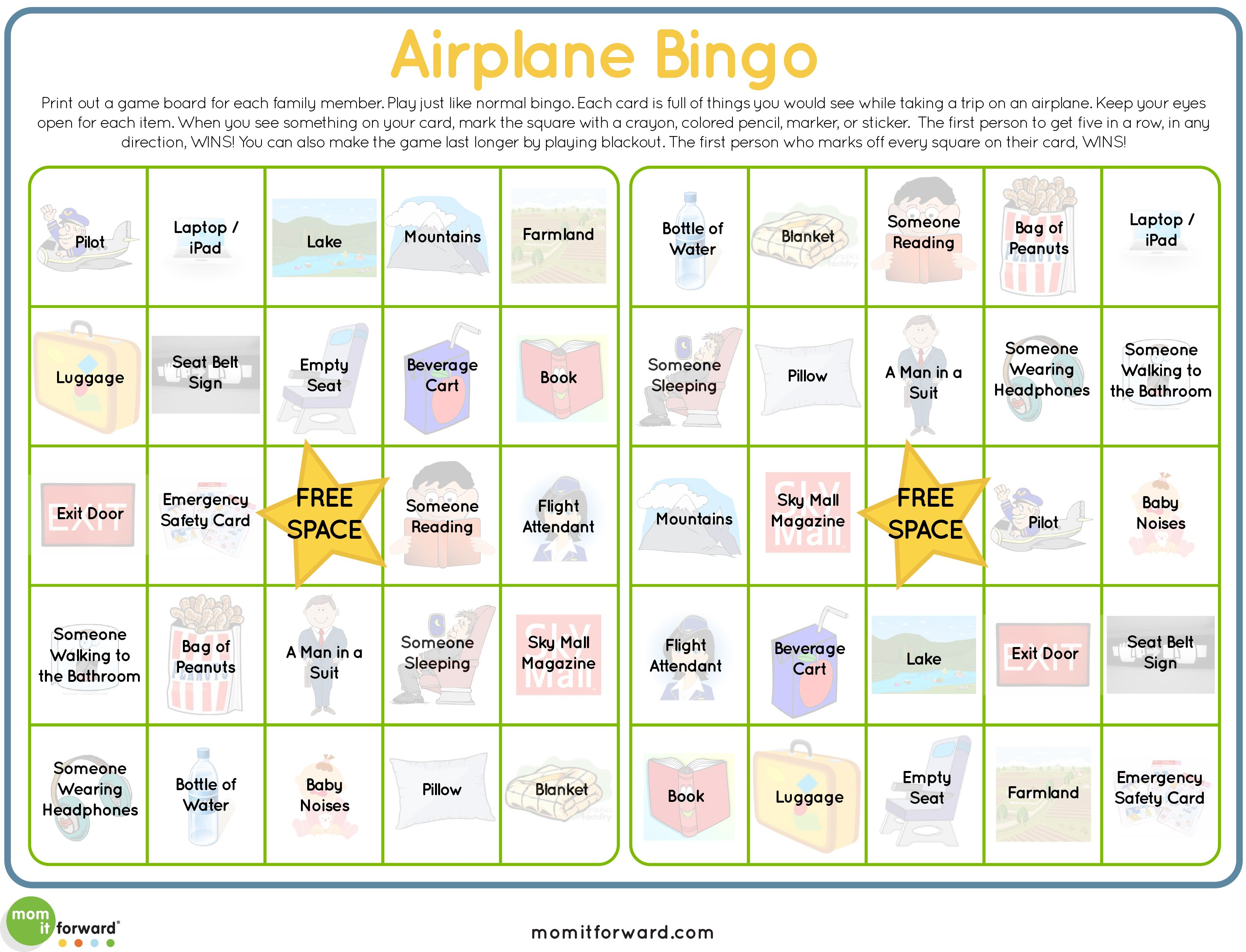 Airplane Bingo Printable