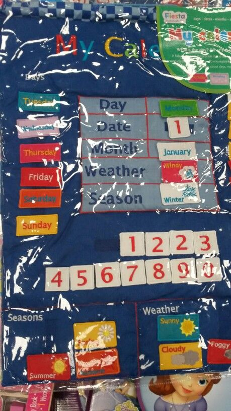 Sewn, velcro, day, date, month, weather, season, calendar.