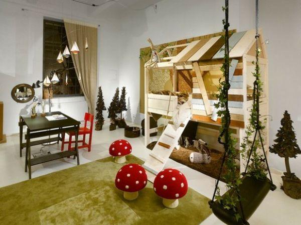 Hochbett abenteuerbett pilze gr ne pflanzen schaukel homedecor kidsroom forrest - Abenteuerbett junge ...