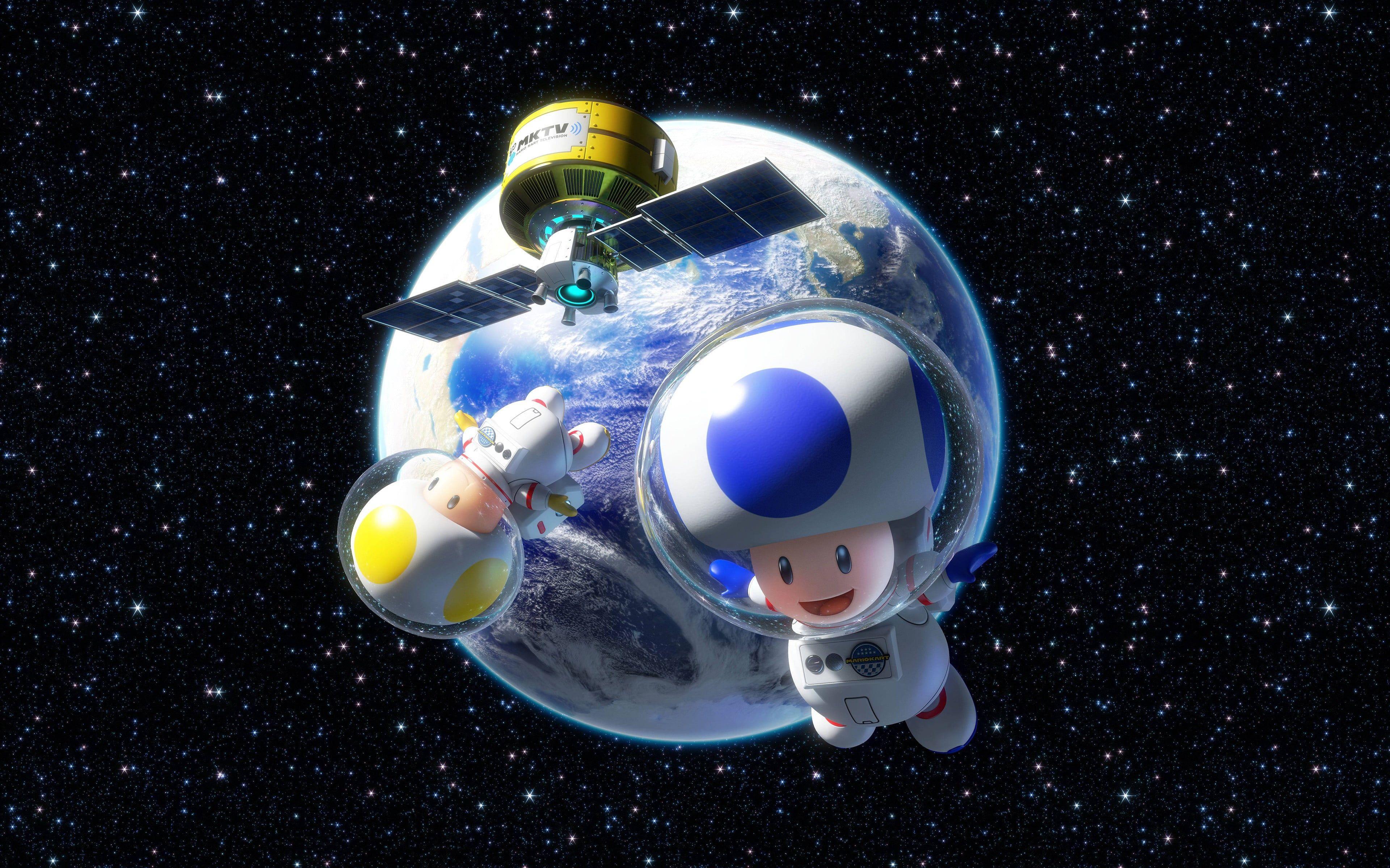 Super Mario Toad Astronaut Digital Wallpaper Toad Character Space Video Games Mario Kart 8 Nintendo Astr In 2021 Super Mario Digital Wallpaper Character Wallpaper