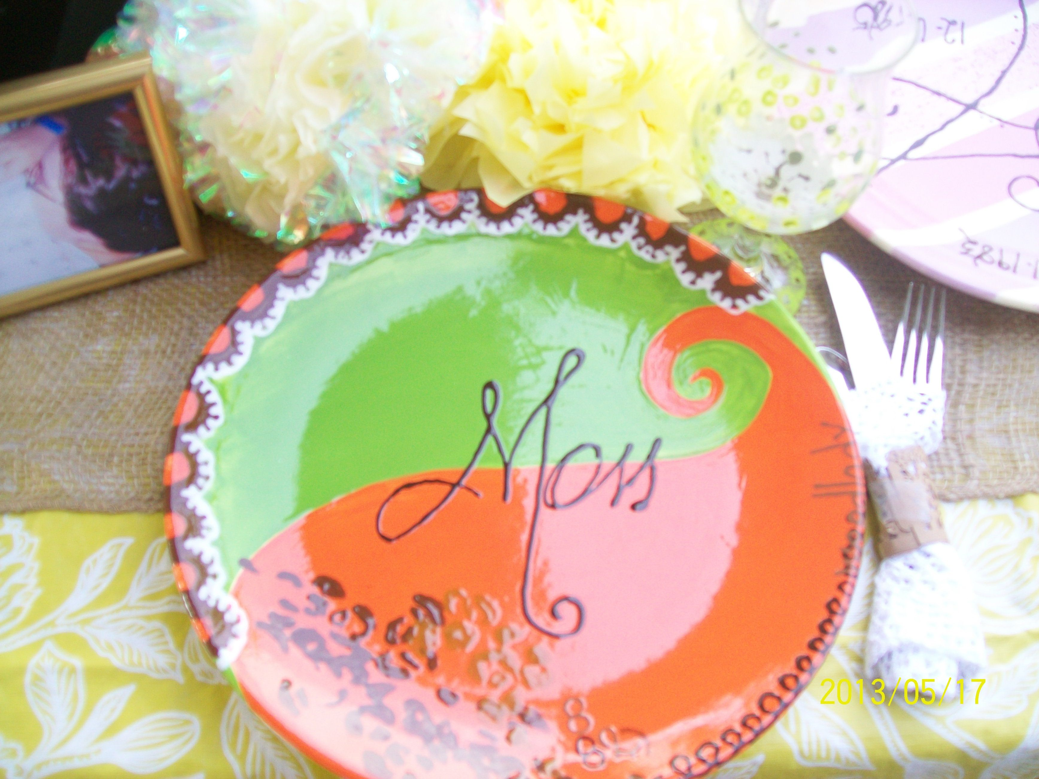 another special plate for our moms...  a good view of our table settings too