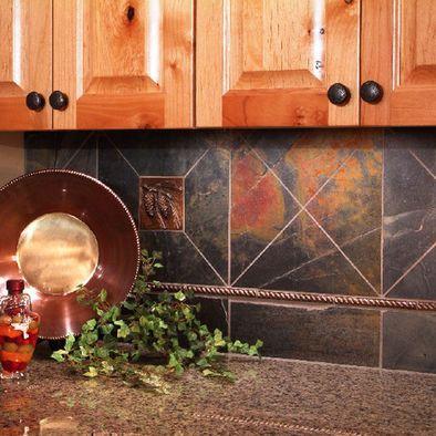 Kitchen Backsplash Using Vinyl Tiles slate backsplash - could use vinyl tiles as an alternative