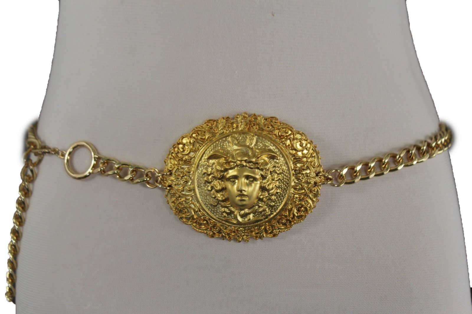 Women hip waist fashion belt chunky gold metal chains medusa head