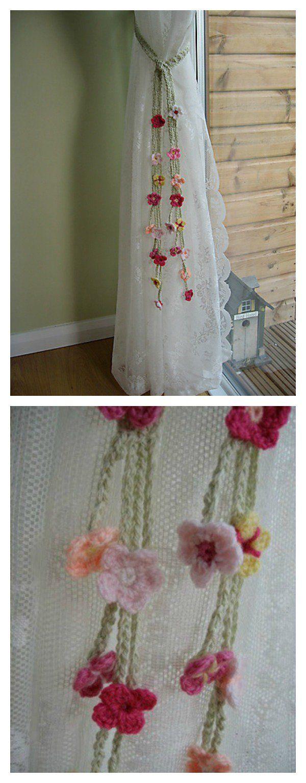Flower Curtain Tie Back Free Crochet Patterns Crochet