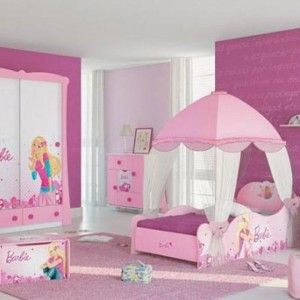 Amusing Girly Bedroom Decor With Barbie Themed Furniture Featuring Pink  Wall Paint