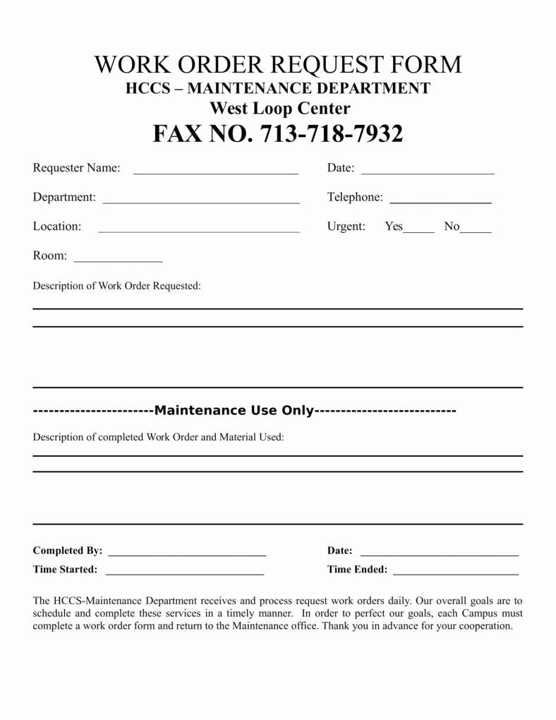 30 Work Request Form Template In 2020 Order Form Template