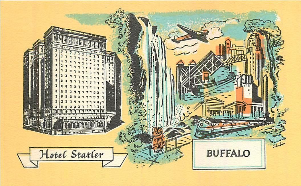 BUFFALO, New York NY HOTEL STATLER 1940s Linen Roadside