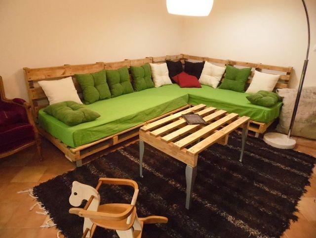 palettenmöbel holz sofa tisch europaletten bauen | wohnen, Terrassen ideen