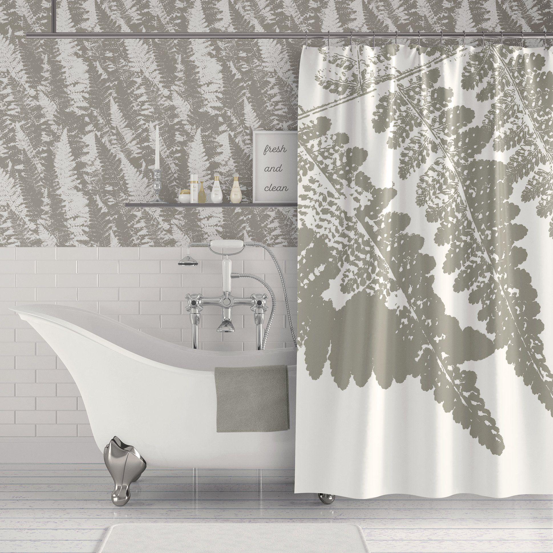 Gray Fern Spa Bathroom Botanical Wallpaper Shower Curtain Grey