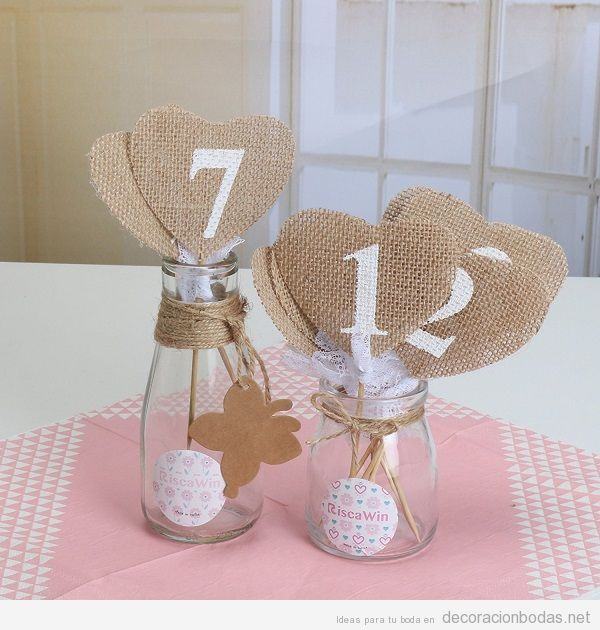 Comprar online n meros de yute y encaje para decorar boda for Ideas baratas para decorar