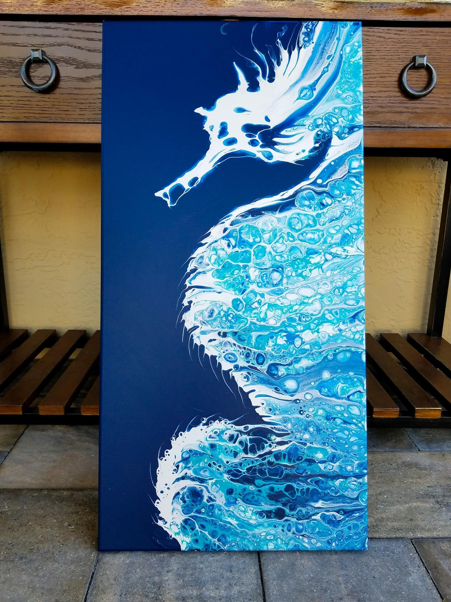 Seahorse Danny Young Acrylic Pour Canvas 2018 Art